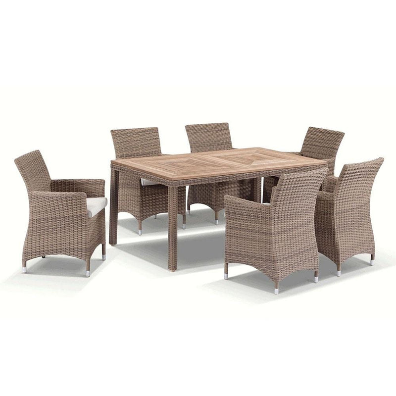 Sahara 6 - 7pc Raw Natural Teak Timber Table Top Outdoor Dining Set In Half Round Wicker
