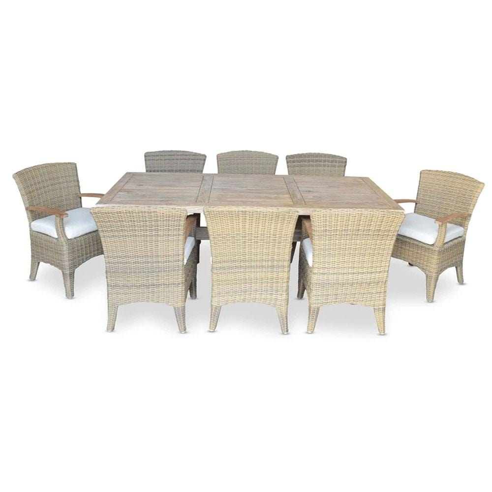 Tahitian Solid Teak 2.1m Outdoor Table with Kai Chairs