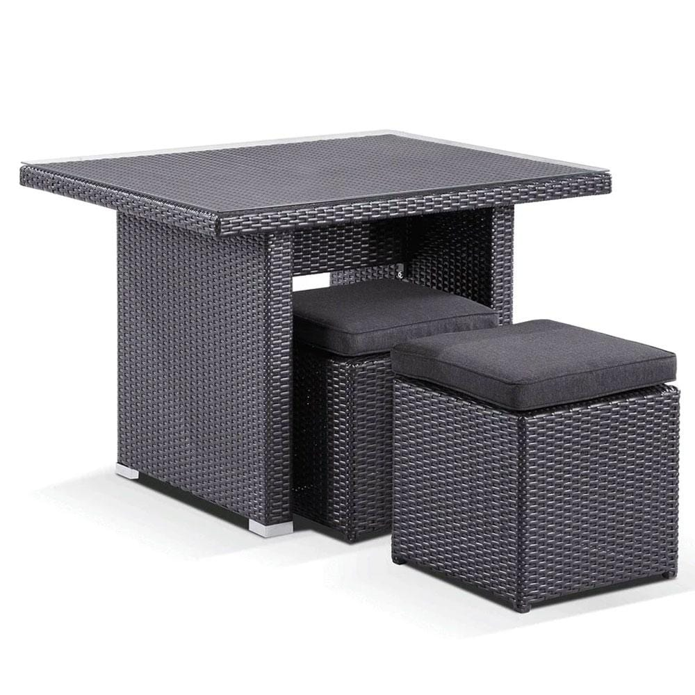 Wicker Dining Coffee Table with 2 Stowaway Ottomans