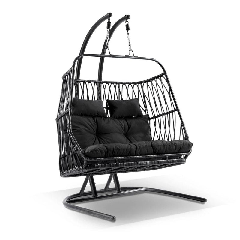 Arlo Double Hanging Egg Chair with Stand in Black