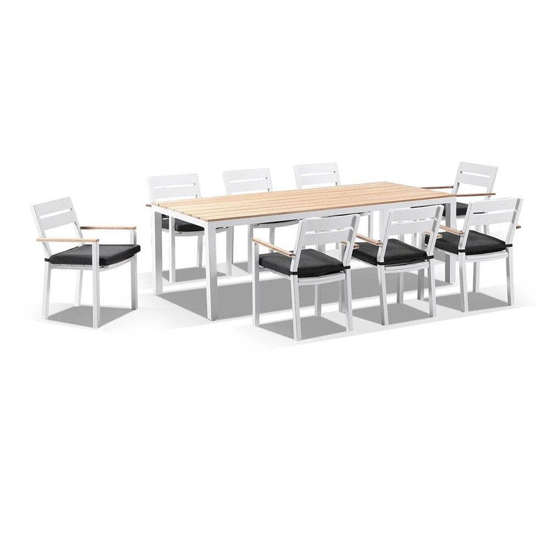 Tuscany 8 with Capri chairs with Teak Arm Rests in White