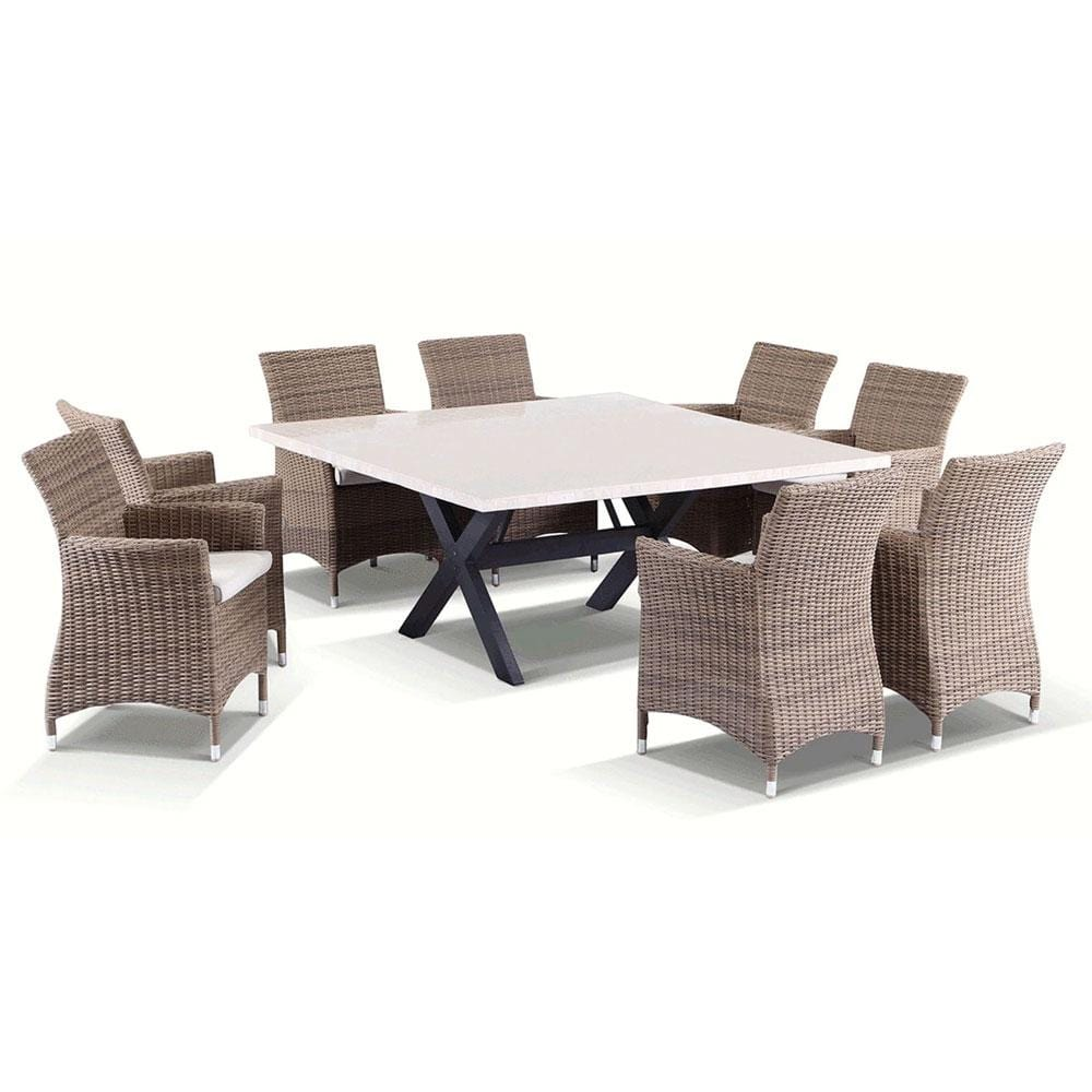 Sicillian 8 Sqaure - 9 Pc Travertine Stone Top Outdoor Table Setting With Half Round Wicker Chairs