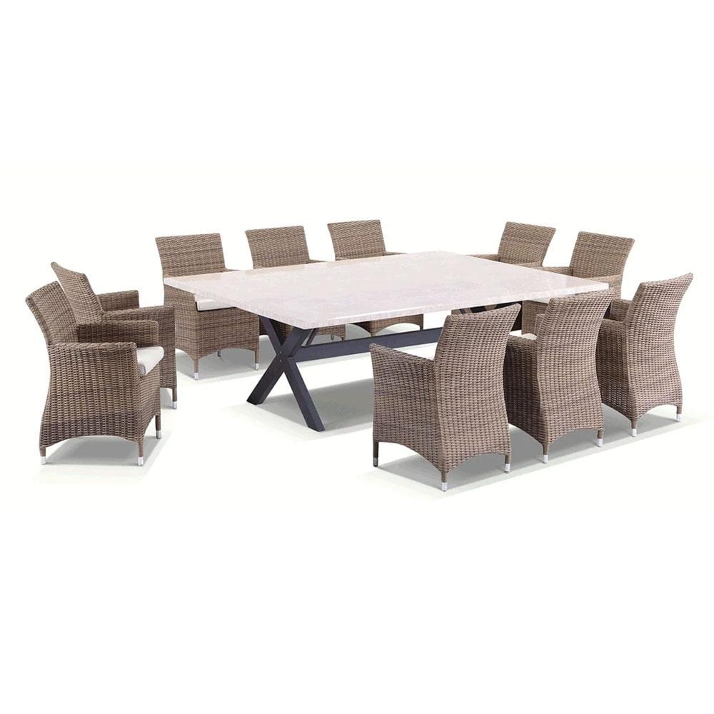 Sicillian 10 Seat Rectangle - 11 Pc Travertine Stone Top Outdoor Table Setting With Half Round Wicker Chairs