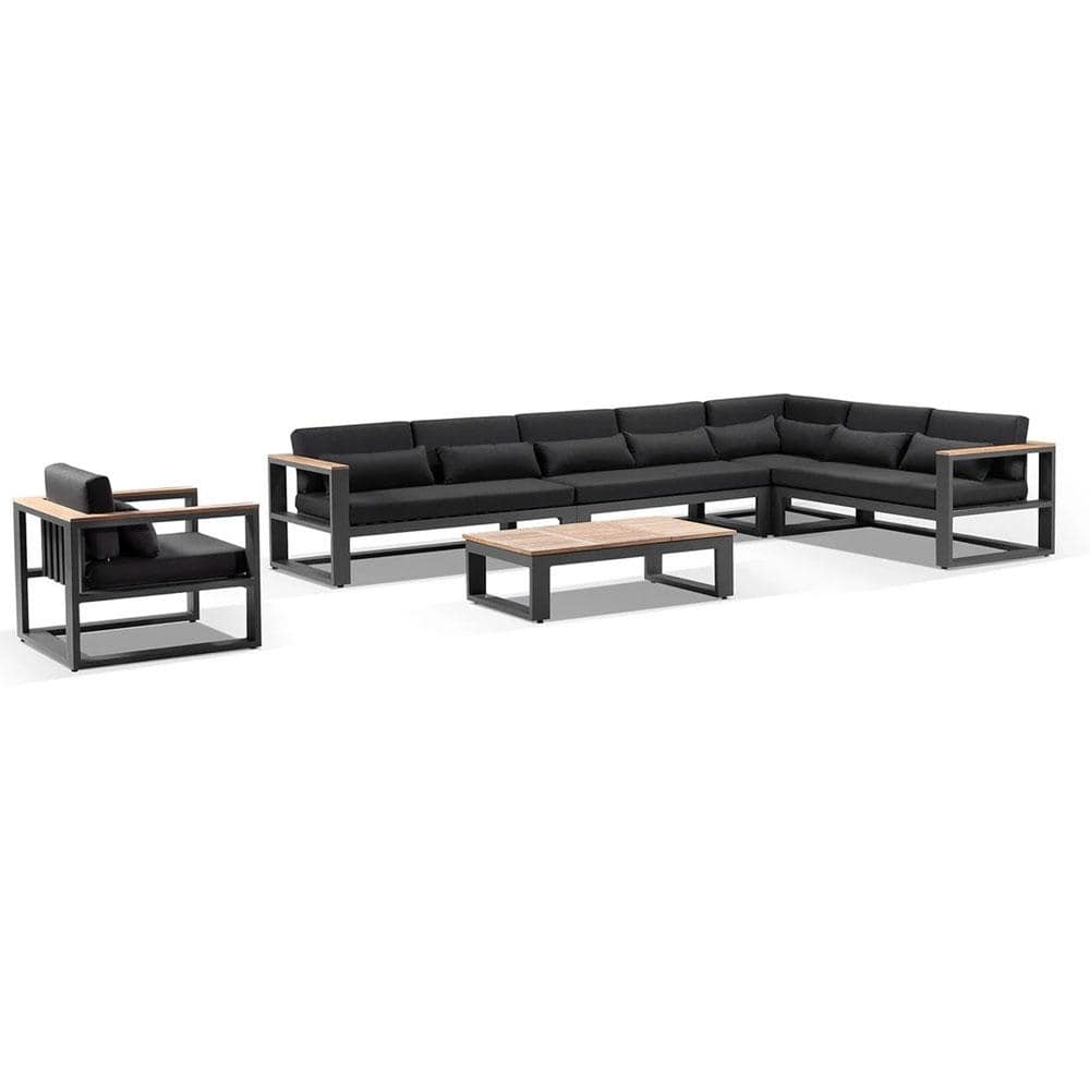 Balmoral package C - Outdoor Aluminium and Teak Lounge Set with Coffee Table