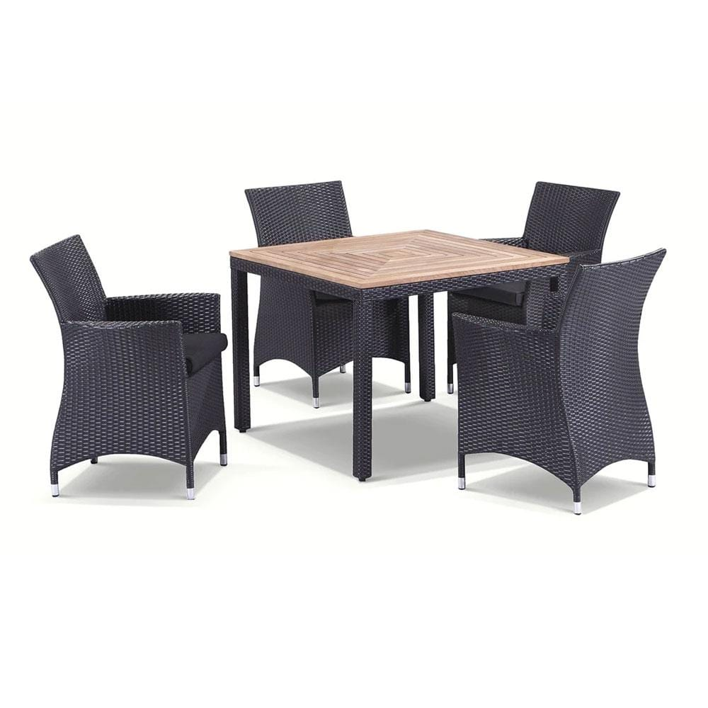 Sahara 4 - 5pc Raw Natural Teak Timber Table Top Outdoor Dining Set With Wicker Chairs