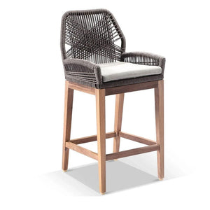 Darcey Outdoor Teak and Rope Bar Stool