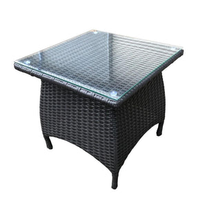 Bali Side Table - Glass Top Drinks Table