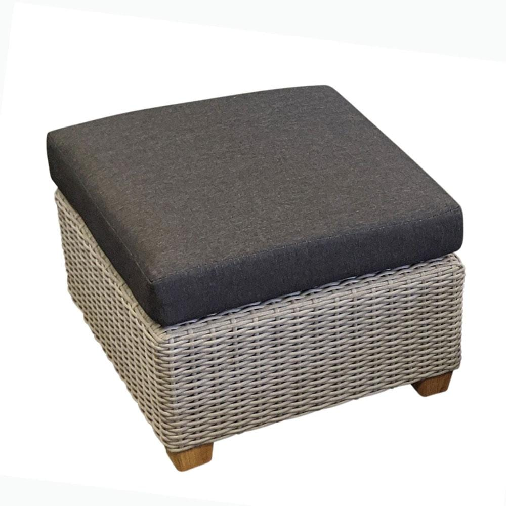 Blue Stone Outdoor Wicker Square Ottoman