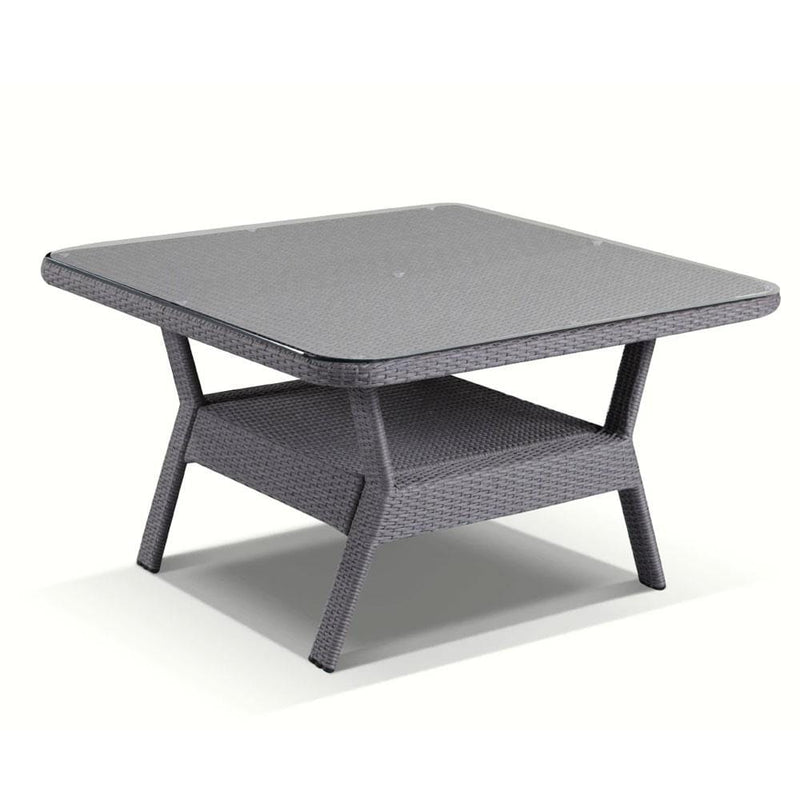 Low Dining Table 1.2m Square Glass Top in Textured Grey Wicker