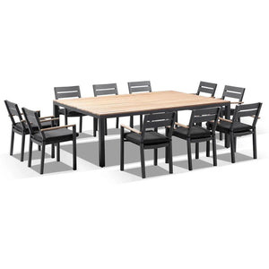 Tuscany 10 Seat with Capri chairs with Teak Arm Rests in Charcoal