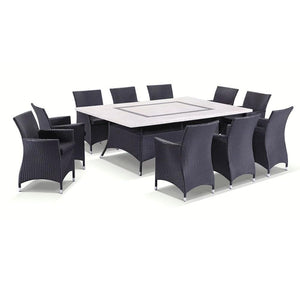 Caesar 10 Seat - 11pc Travertine Stone Outdoor Table Setting With Wicker Outdoor Chairs