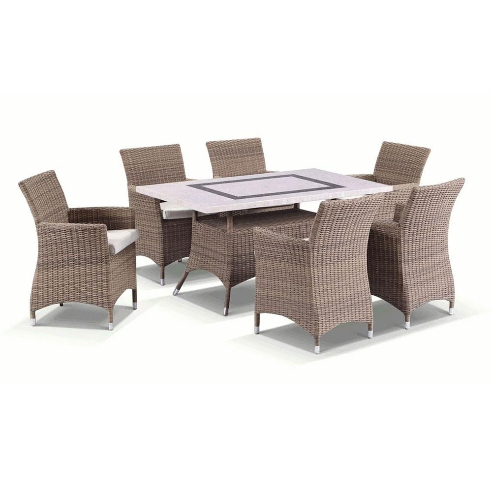 Caesar 6 - 7pc Travertine Stone Outdoor Table Setting With Half Round Wicker Outdoor Chairs