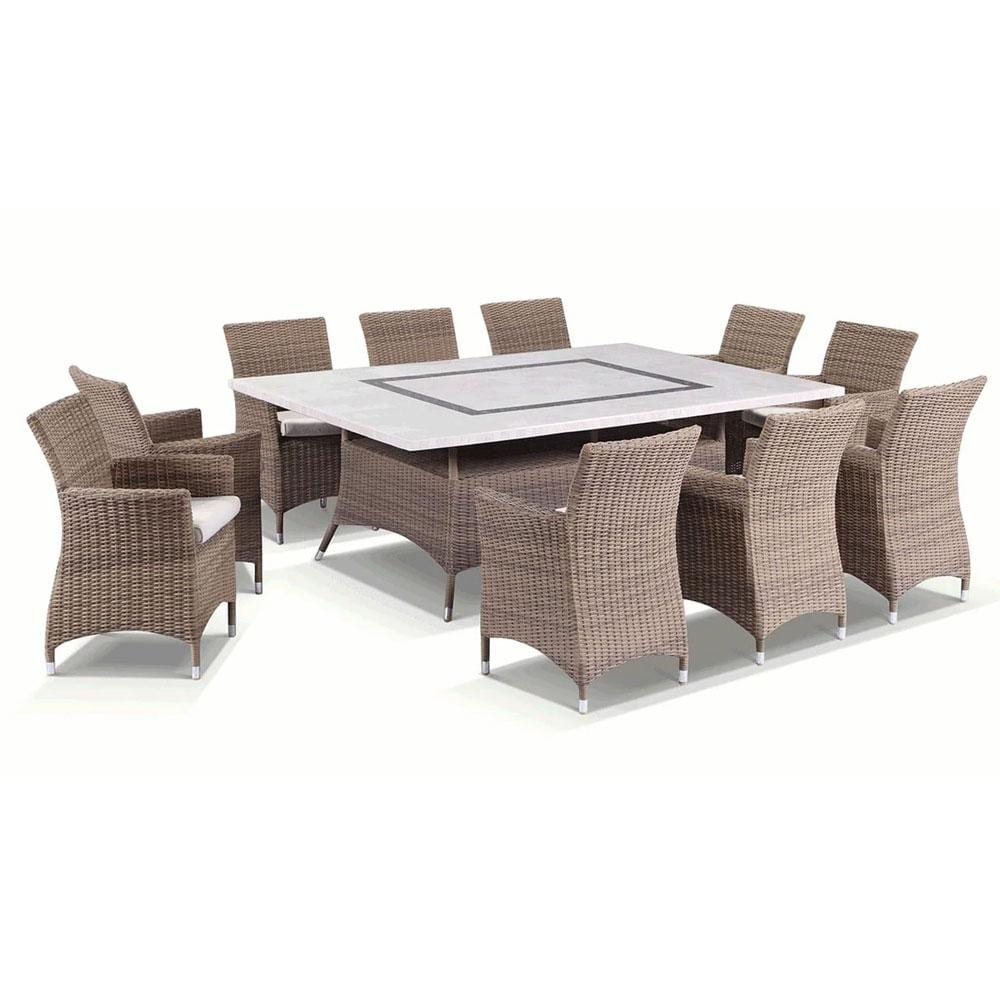 Caesar 10 Seat - 11pc Travertine Stone Outdoor Table In Half Round Rattan Wicker