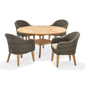 Solomon Round Teak Timber 5 Piece Dining Setting