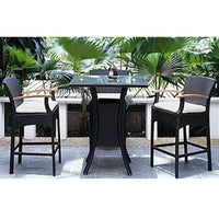 Wanika Bar 4 - 5pc Square Glass Top Wicker Outdoor Bar Furniture