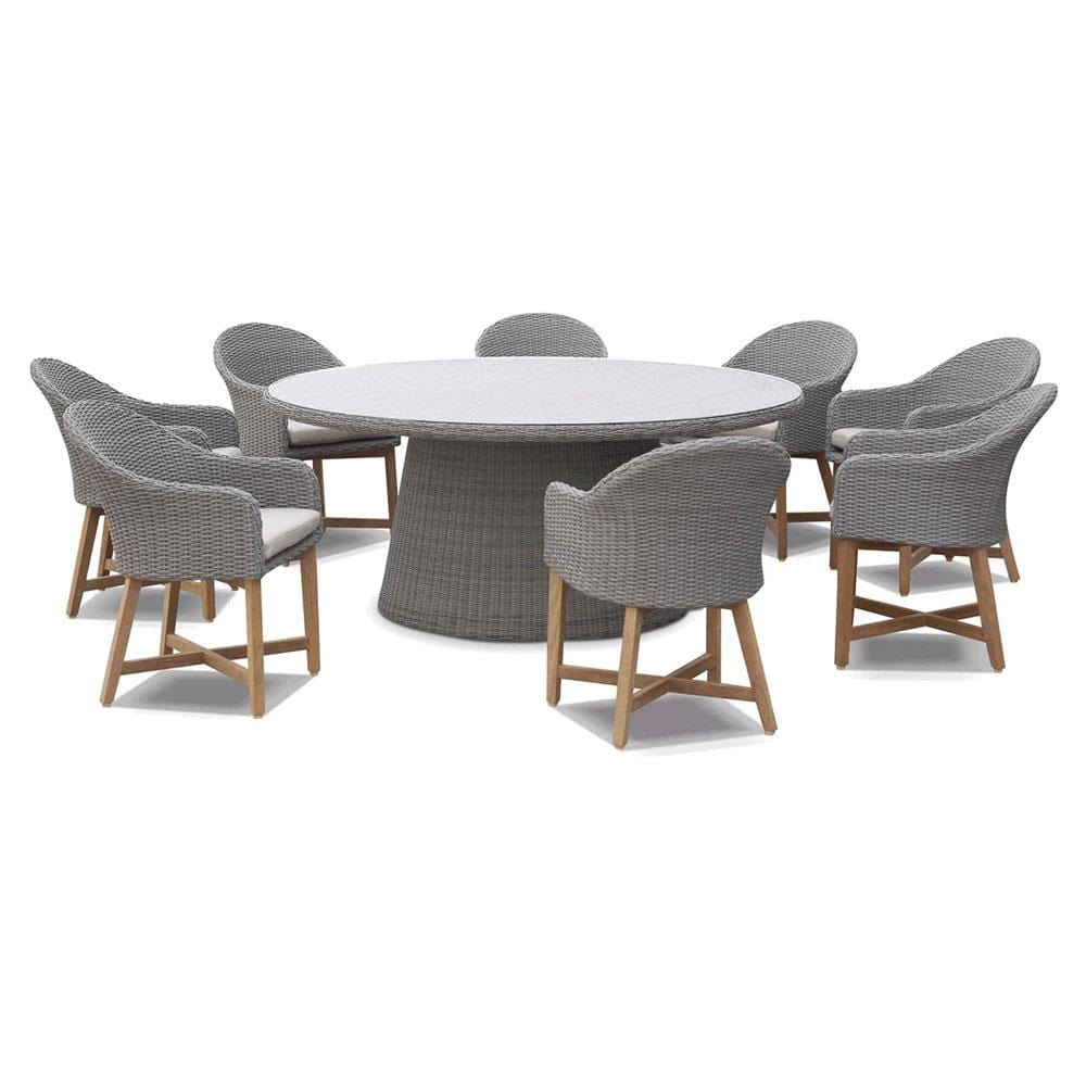 Plantation 8 Outdoor Dining Table with Coastal Wicker Chairs