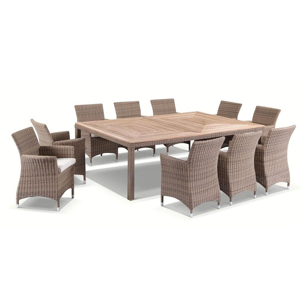 Sahara 10 Seat in Half Round wicker - 11pc Raw Natural Teak Timber Table Top Outdoor Dining Set With Rattan Wicker Chairs