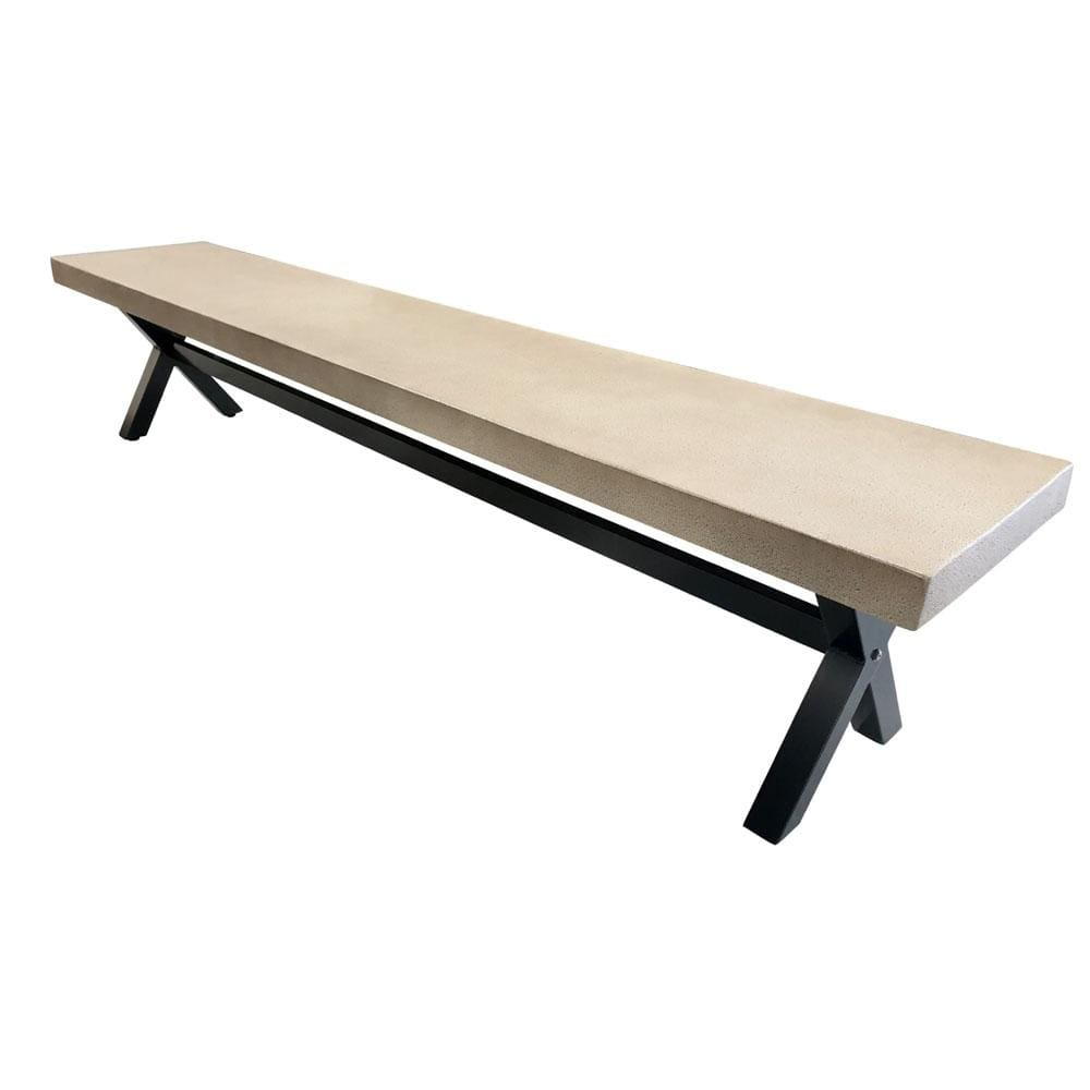 New York 2.2m Light Grey Poly-Cement Bench Seat