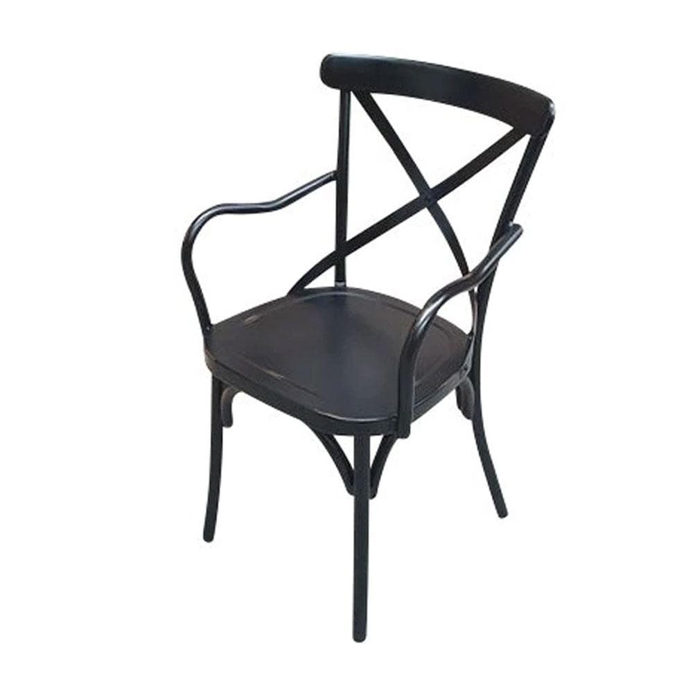 VINTAGE CROSS BACK DINING CHAIR WITH ARMS - SHABBY CHIC FINISH - ANTIQUE BLACK