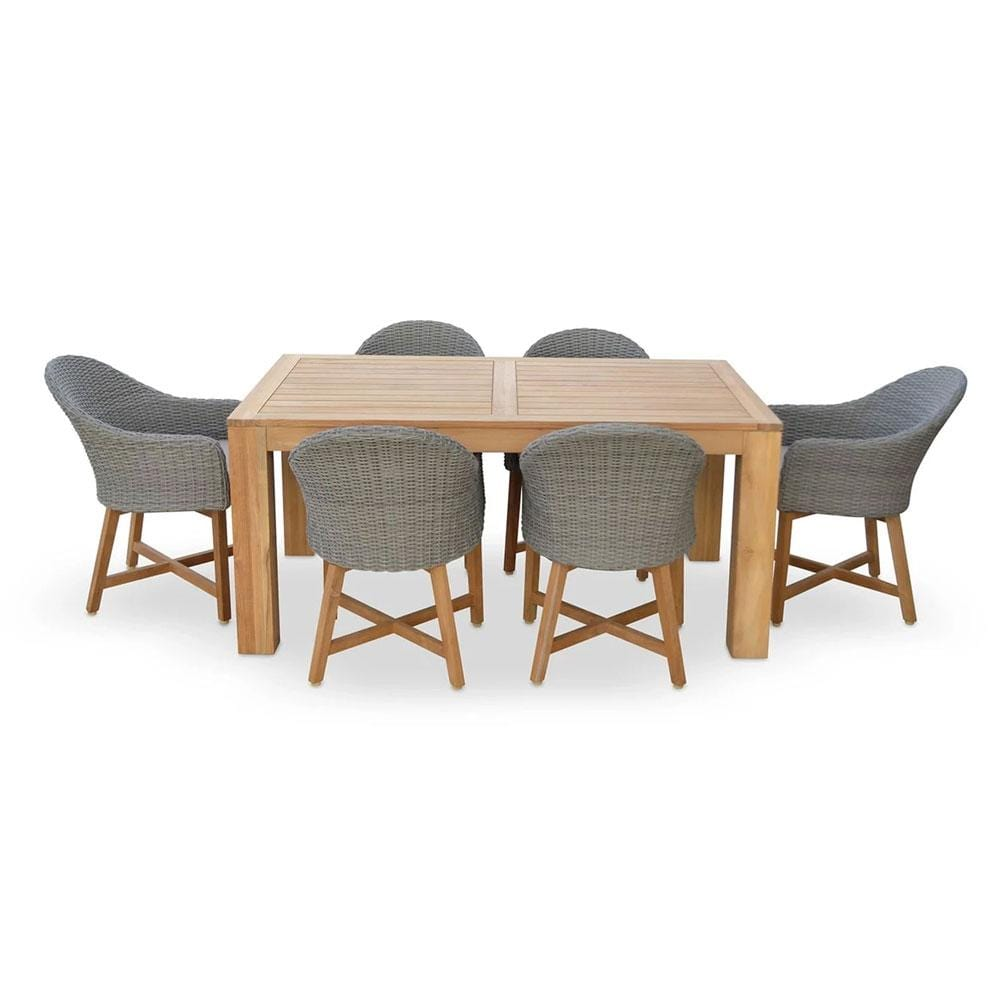 Entertainer 1.7m Teak Outdoor Table with 6 Coastal Wicker Dining Chairs