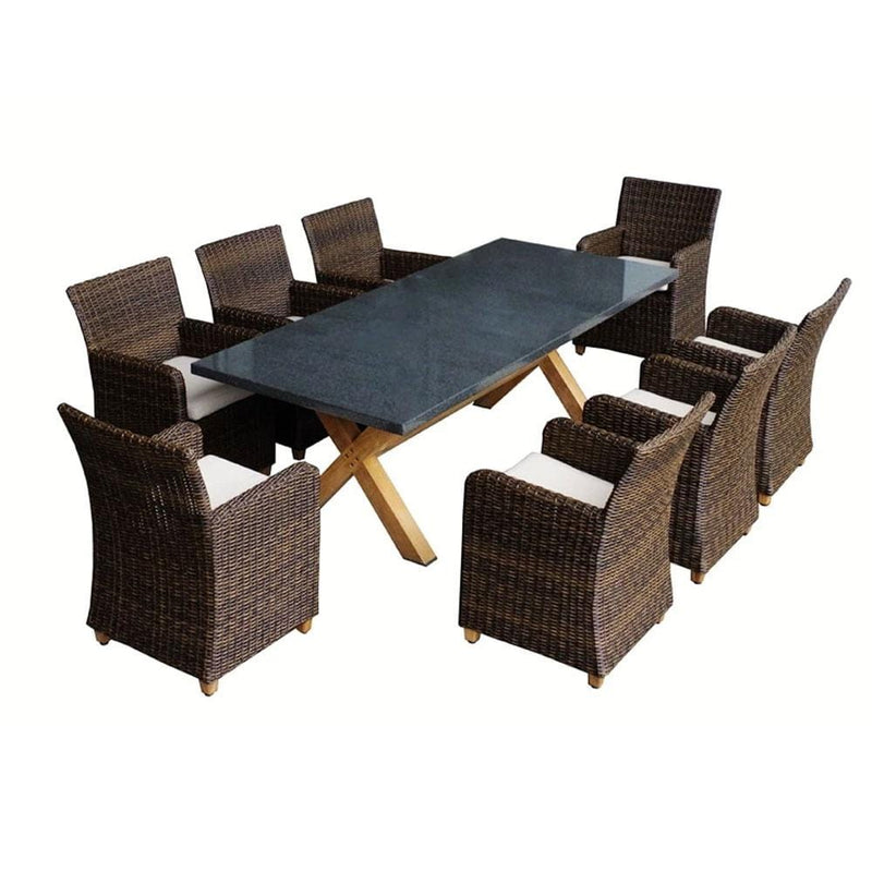 Blue Stone 8 - 9pc Granite Stone Top Outdoor Dining Set With Rattan Wicker Chairs