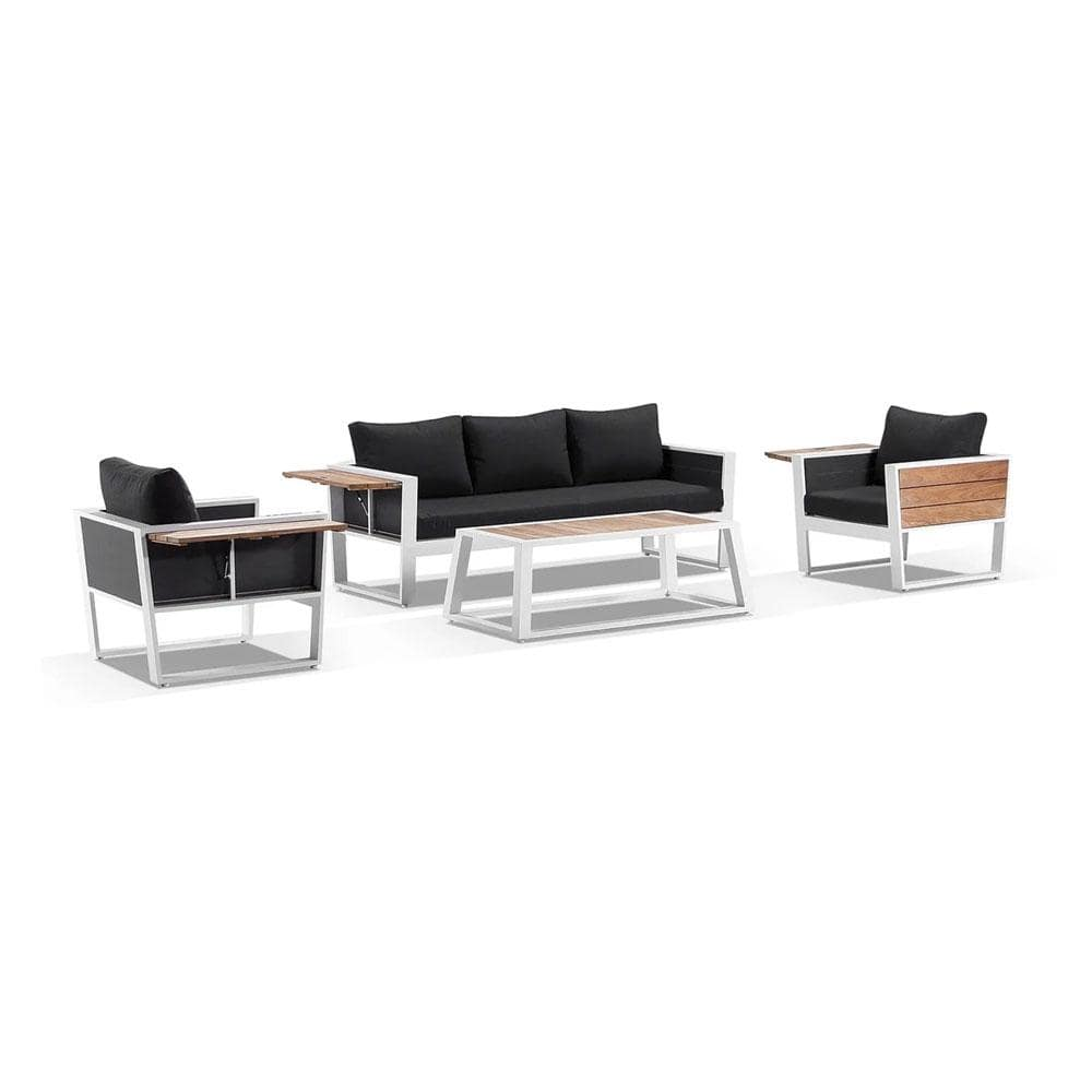 Corfu 3+1+1 Aluminium and Teak Timber Lounge with Coffee Table & Side Table with Sunbrella® cushions