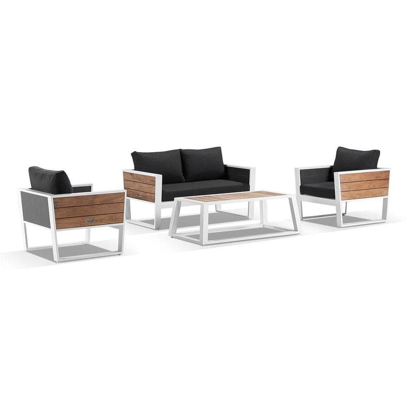 Corfu 2+1+1 Aluminium and Teak Timber Lounge with Coffee Table with Sunbrella® cushions