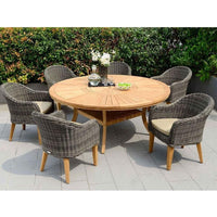 Solomon Round Teak Timber 7 Piece Dining Setting with Lazy Susan