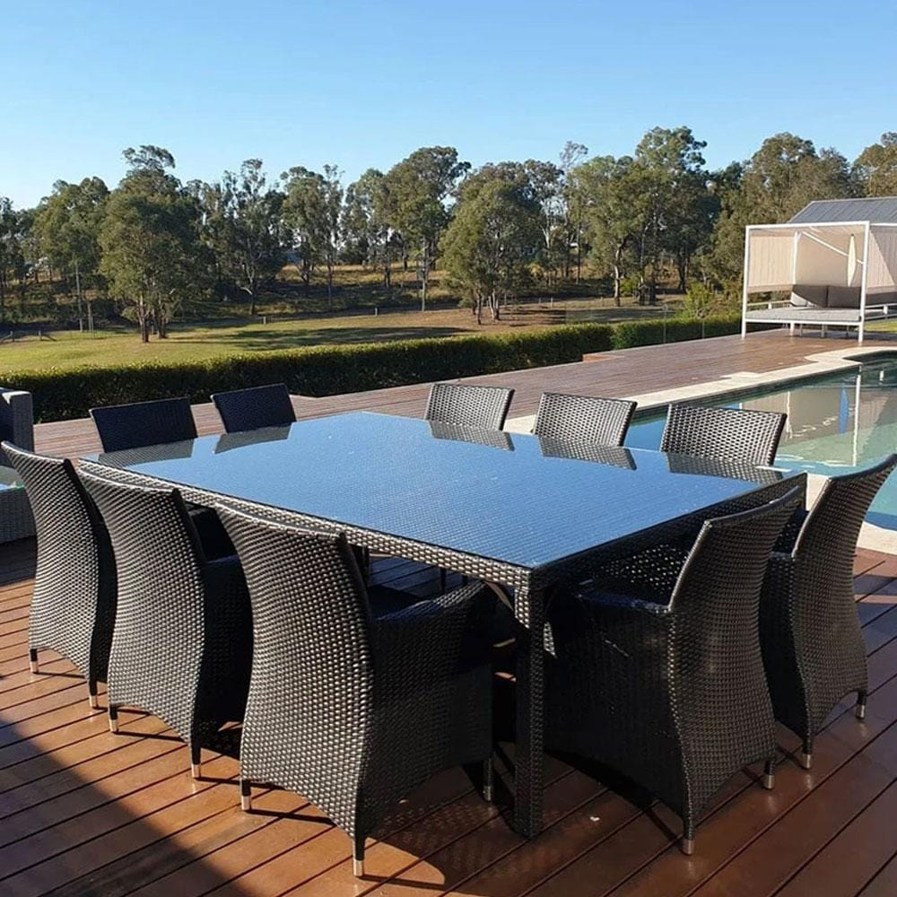 Roman 10 Seat - 11pc Outdoor Dining Wicker Set With Glass Top