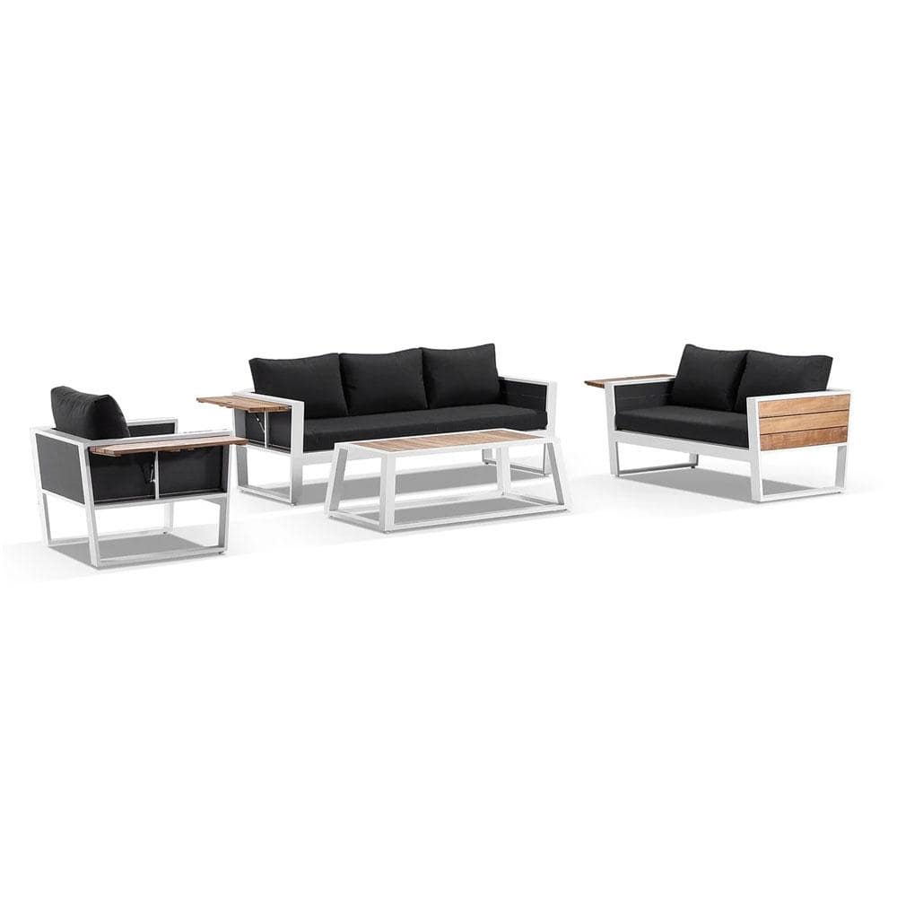 Corfu 3+2+1 Aluminium and Teak Timber Lounge with Coffee Table & Side Table with Sunbrella® cushions