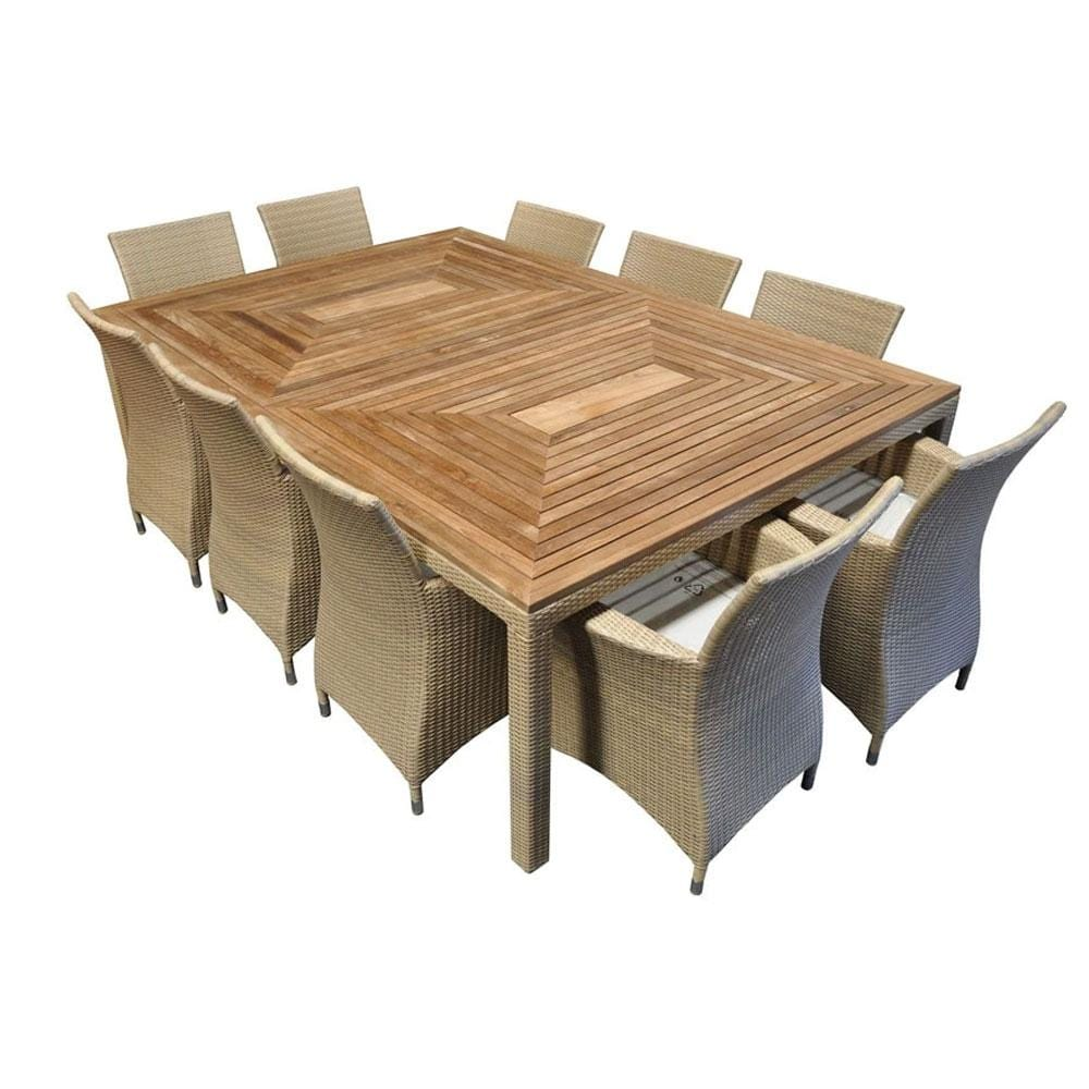 Sahara 10 Seat - 11pc Raw Natural Teak Timber Table Top Outdoor Dining Set With Wicker Chairs