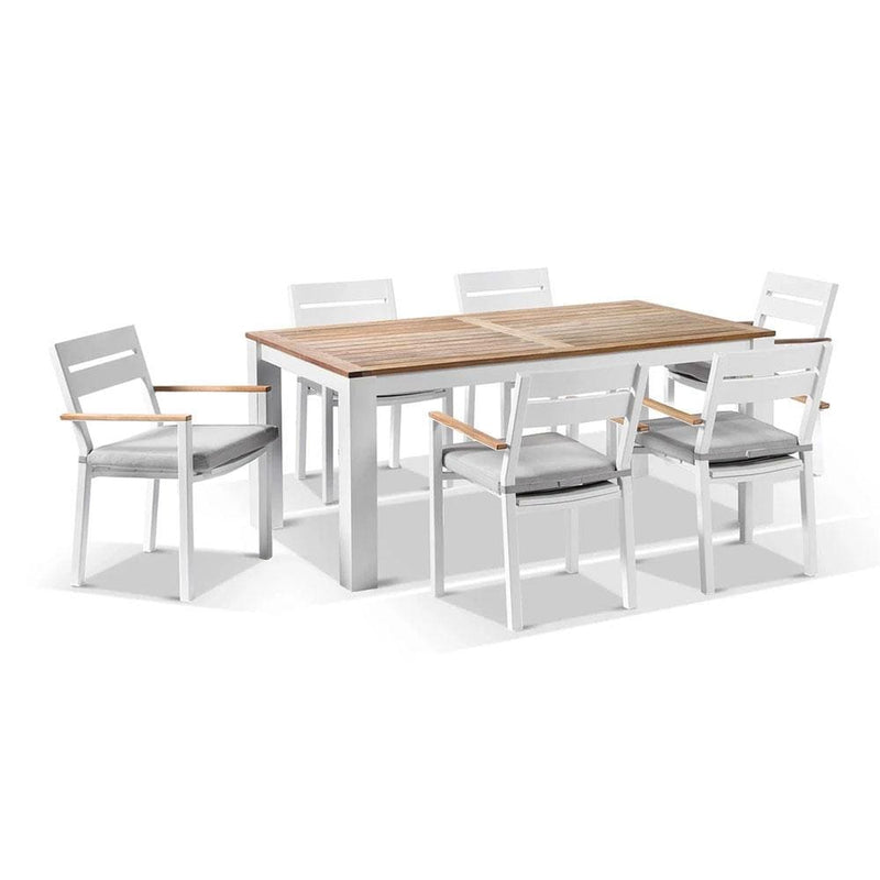 Balmoral 1.8m Teak Top Aluminium Table with 6 Capri Dining Chairs