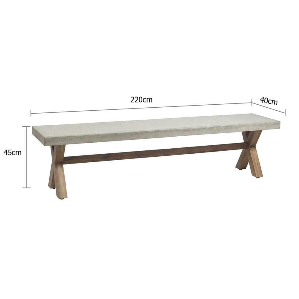 Rhodes 2.2m Poly Cement Bench Seat