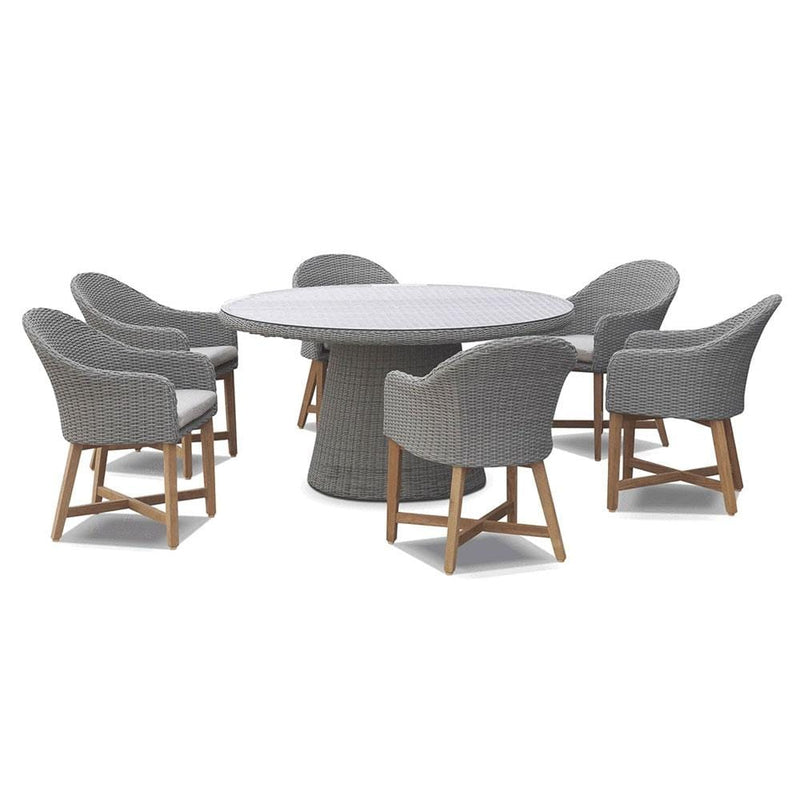 Plantation 6 Outdoor Dining Table with 6 Coastal Wicker Chairs