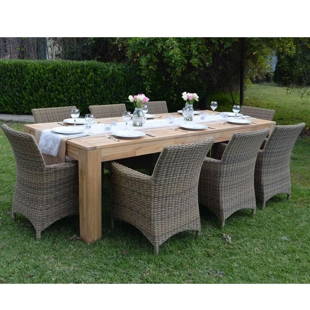 Entertainer 2.5m Teak Outdoor Table with 8 Roman chairs in Half Round Wicker