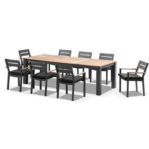 Balmoral 2.5m Teak Top Aluminium Table with 8 Capri Dining Chairs