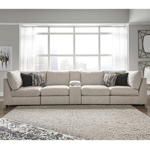 Georgia 4 Seater Modular Fabric Lounge Suite with Console