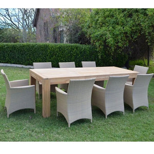 Entertainer 2.5m Teak Outdoor Table with 8 Roman chairs