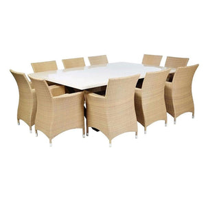 Sicillian 10 Seat - 11 Pc Travertine Stone Top Outdoor Table Setting With Wicker Chairs