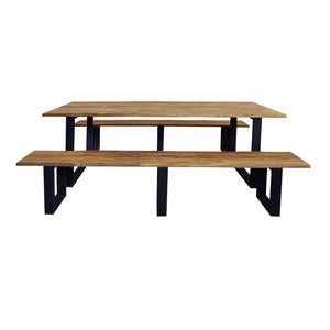 Santai 2.4m Outdoor Teak Timber and Dining Table with Benches