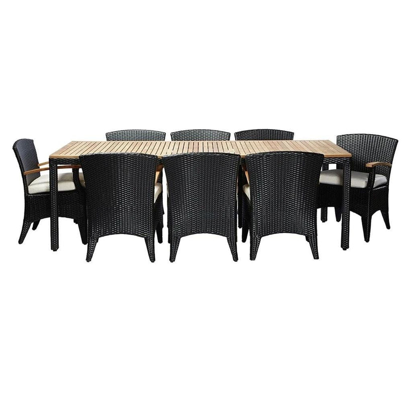 Kai 8 - 9pc Raw Natural Teak Timber Top Outdoor Dining Set With Wicker Chairs