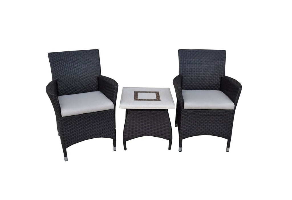 Roman Patio Set - 3pc 2 Wicker chairs with Bali Stone top side table