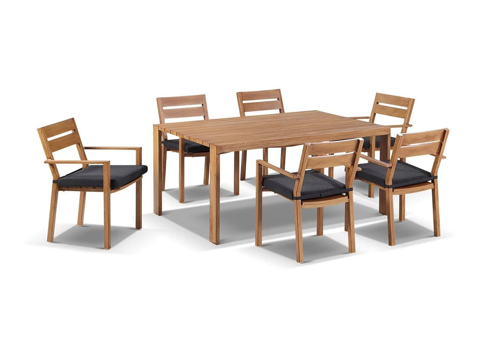 Capri 7pcs Dining Setting in Teak Timber Look Finish
