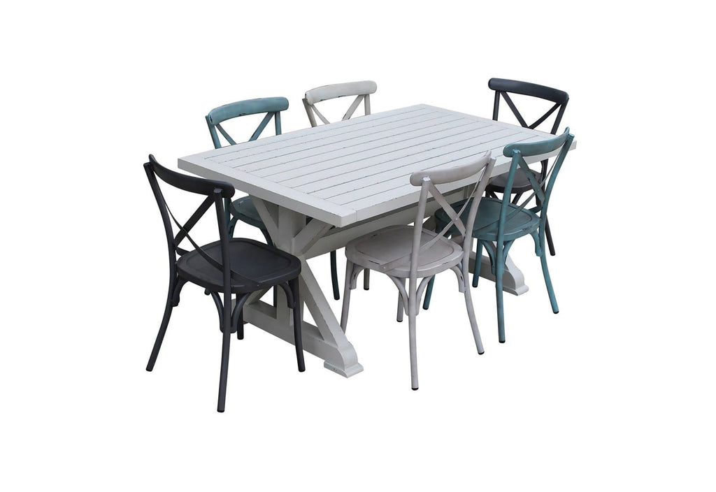 Torquay 1.6m Aluminium Outdoor Table with 6 Cross Back Dining Chairs
