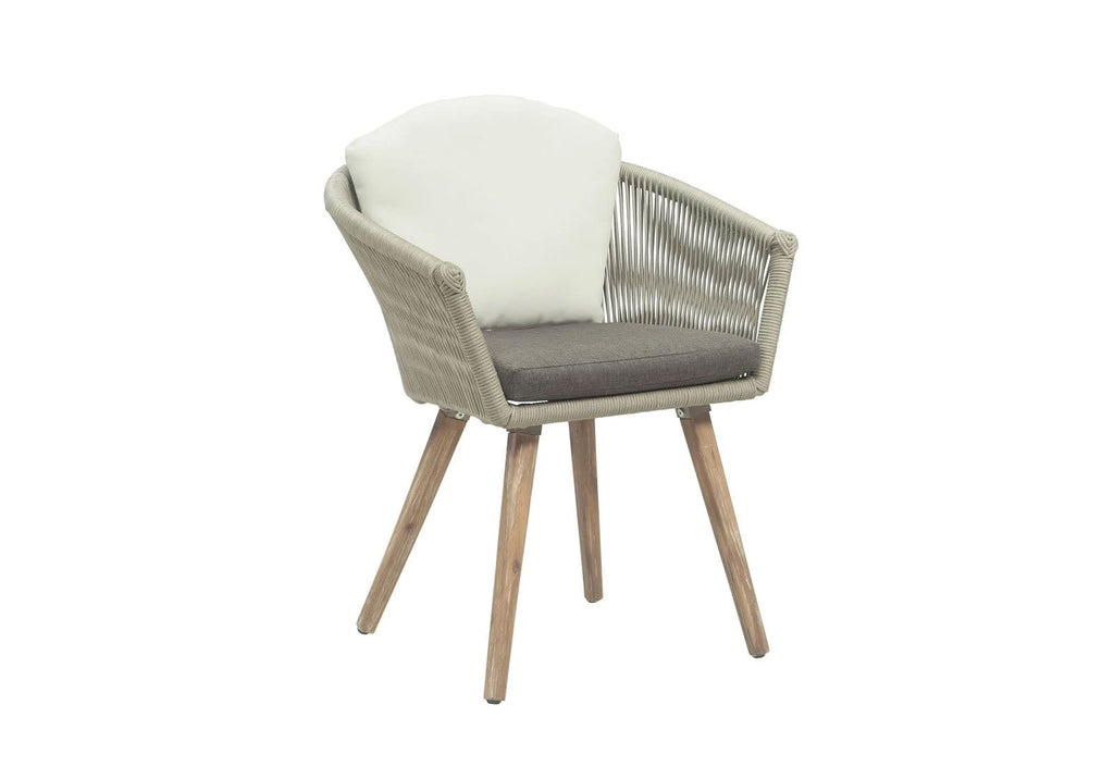 Herman Outdoor Taupe Rope and Aluminium Dining Chair