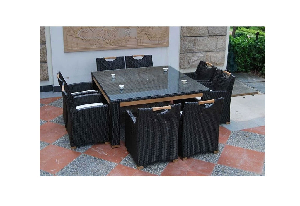 Freedom 8 Square - 9pc Glass Top And Teak Trim Outdoor Dining Set With Wicker Chairs