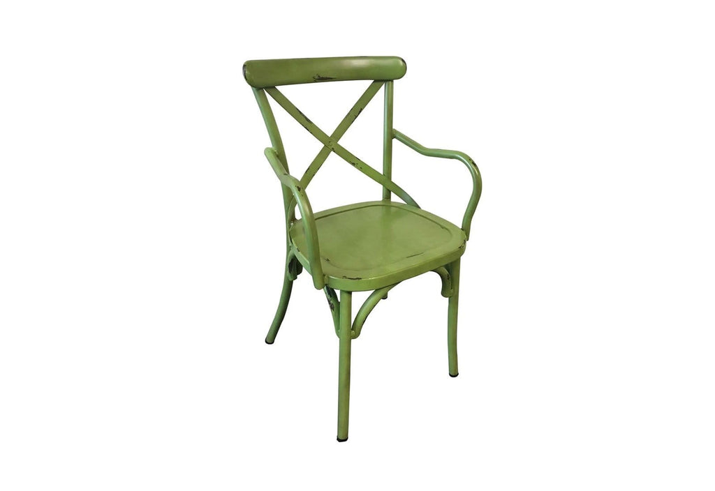 FRENCH PROVINCIAL CROSS BACK DINING CHAIR WITH ARMS - SHABBY CHIC FINISH - VINTAGE GREEN