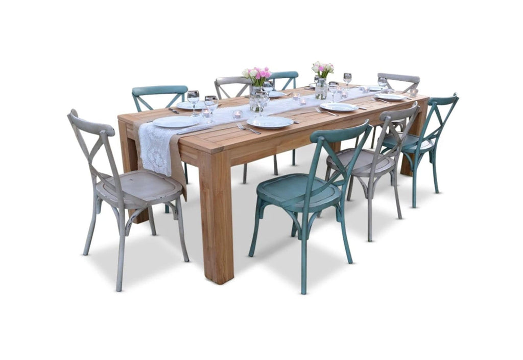 ENTERTAINER 2.5m TEAK TABLE with 8 CROSSBACK CHAIRS