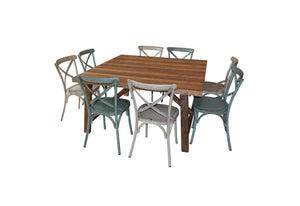 1.5m Square INDUSTRIAL TABLE with 8 CROSS-BACK CHAIRS