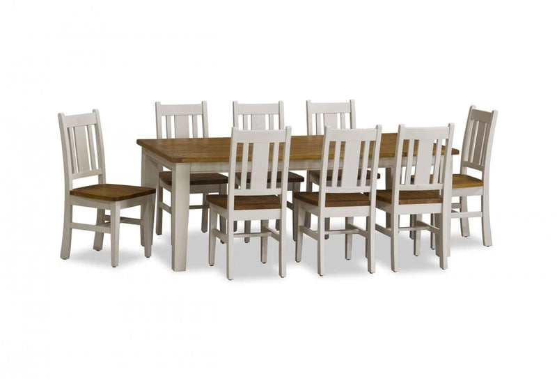 Two Tone Leura 8 Rectangle - 9 Pc Shabby Chic Timber Dining Setting In Distressed White With Honey Timber Top